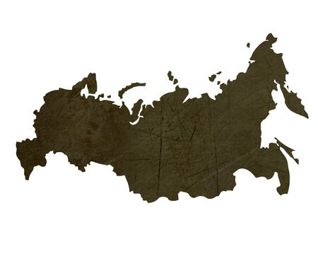 Dark silhouetted and textured map of Russian Federation isolated on white background. photo