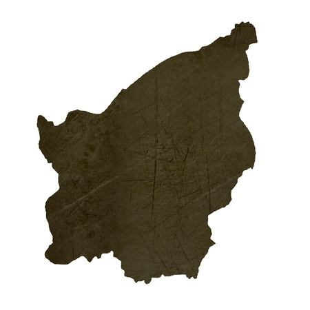 silhouetted: Dark silhouetted and textured map of San Marino isolated on white background.