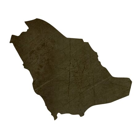 silhouetted: Dark silhouetted and textured map of Saudi Arabia isolated on white background.
