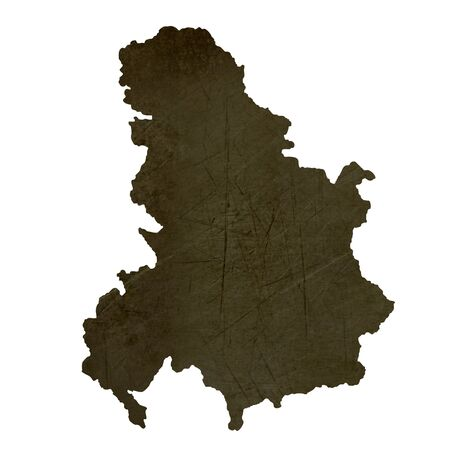 Dark silhouetted and textured map of Serbia and Montenegro isolated on white background. Stock Photo - 17845388