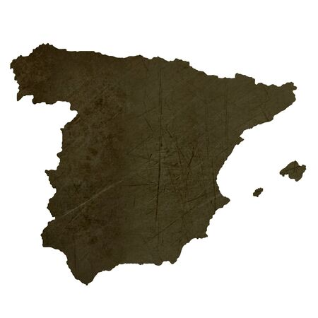 silhouetted: Dark silhouetted and textured map of Spain isolated on white background.