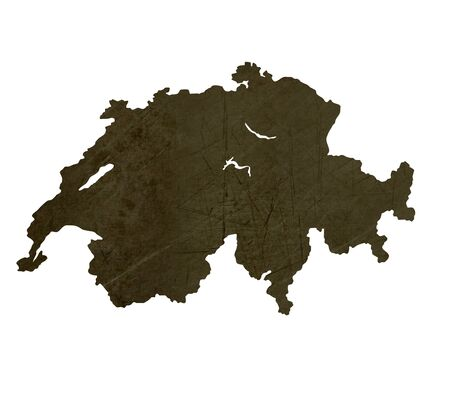 silhouetted: Dark silhouetted and textured map of Switzerland isolated on white background.