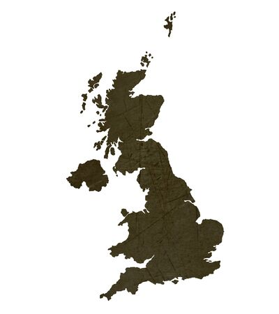 silhouetted: Dark silhouetted and textured map of United Kingdom isolated on white background. Stock Photo