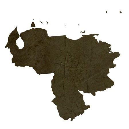 mapa de venezuela: Mapa oscura recortada y con textura de Venezuela aisladas sobre fondo blanco. Foto de archivo