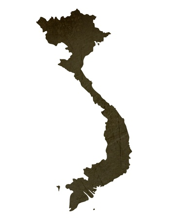 silhouetted: Dark silhouetted and textured map of Vietnam isolated on white background.