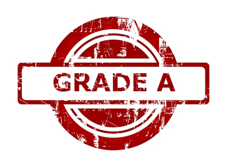 grades: Grade A red stamp with copy space isolated on white background.
