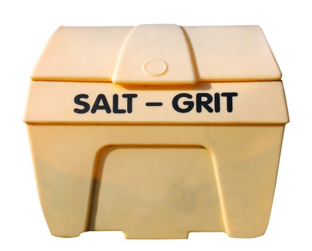 git: Industrial salt and git bin isolated on white background. Stock Photo