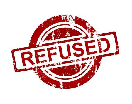 refused: Red neg� sello aislado sobre fondo blanco. Foto de archivo