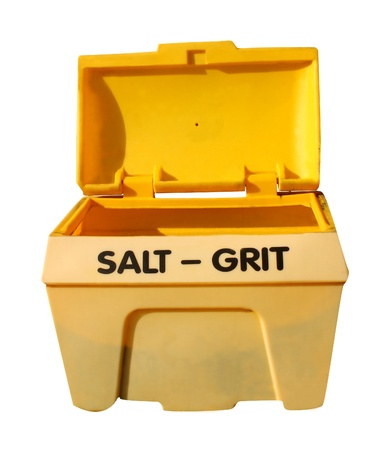 grit: Open yellow salt and grit bin isolated on white background.