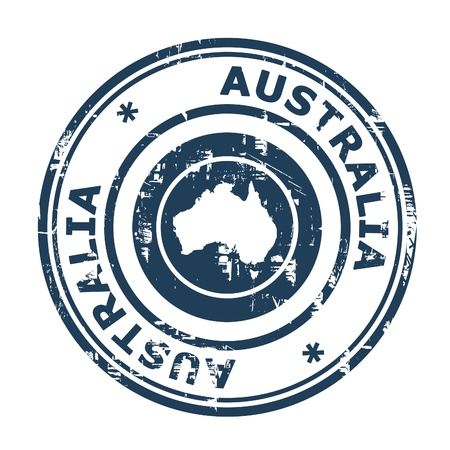 Australia passport stamp isolated on a white background. photo