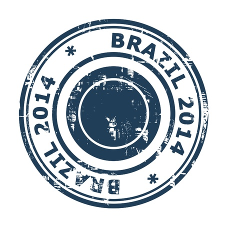 two thousand and fourteen: Brazil 2014 stamp isolated on a white background. Editorial