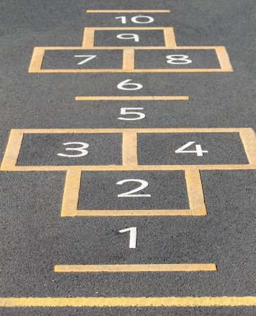 hopscotch: Hopscotch game painted on a school playground.