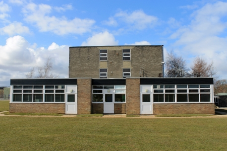 Exterior of modern school building, Scarborough, England.