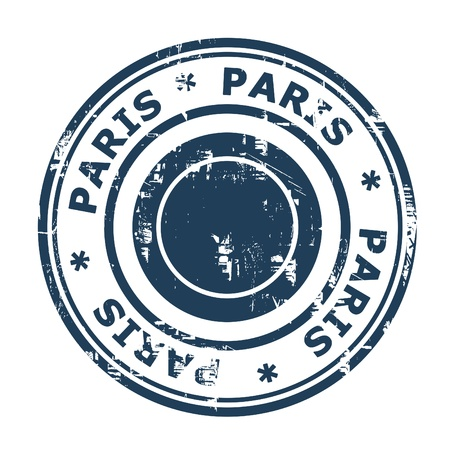 stamp passport: Paris travel stamp isolated on a white background