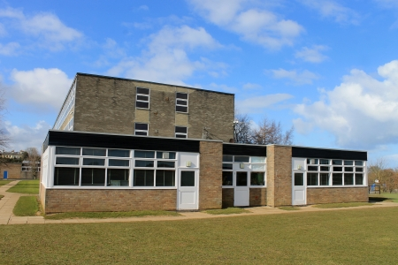 building exterior: Exterior of secondary school building in Scarborough, England  Stock Photo