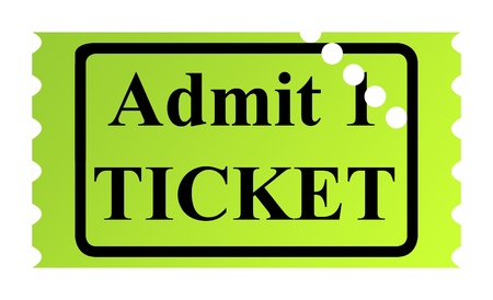 admit one: Admit one ticket isolated on white background. Stock Photo