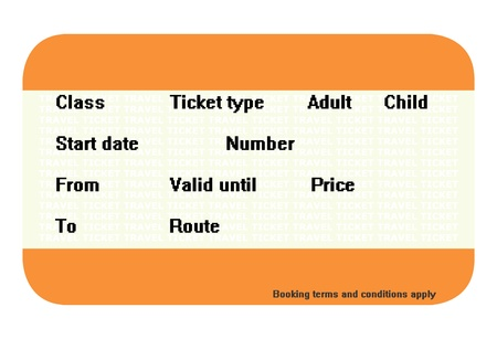 Blank travel ticket with copy space isolated on white background. photo