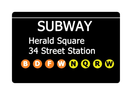 herald: Herald Square 34 Street Station sign isolated on white, New York city, U.S.A.