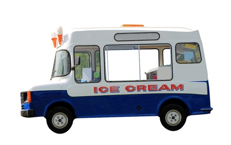 Side view of ice cream van isolated on white background.