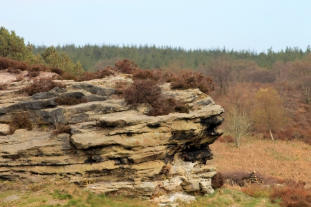 moors: Eroded rock stack formation in countryside, North Yorkshire Moors National Park, England. Stock Photo