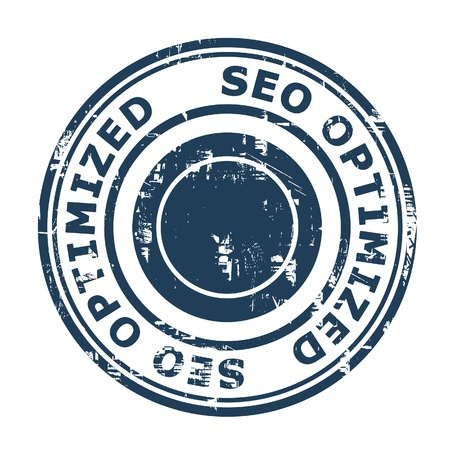 optimized: SEO Optimized concept stamp isolated on a white background.