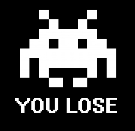 defeated: You lose space invader sign with black background.