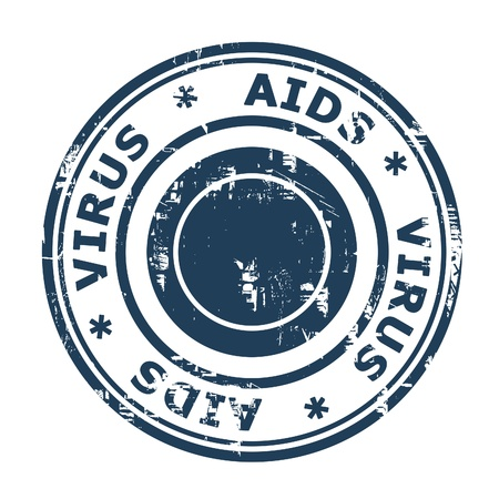 viral strain: AIDS virus stamp isolated on a white background. Stock Photo