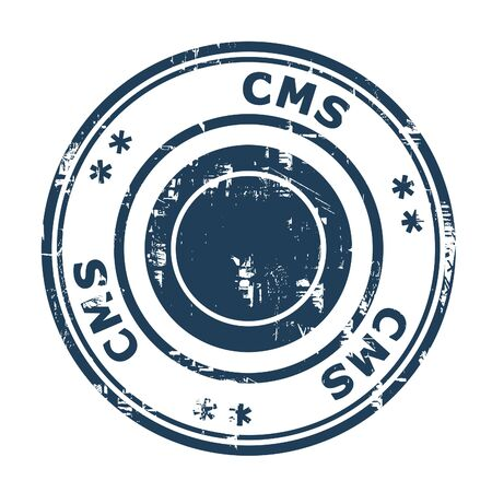 cms: CMS business concept stamp isolated on a white background. Stock Photo