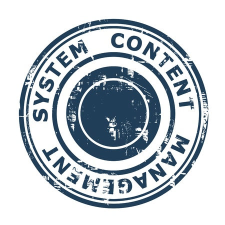 cms: Content Management System concept stamp isolated on a white background. Stock Photo