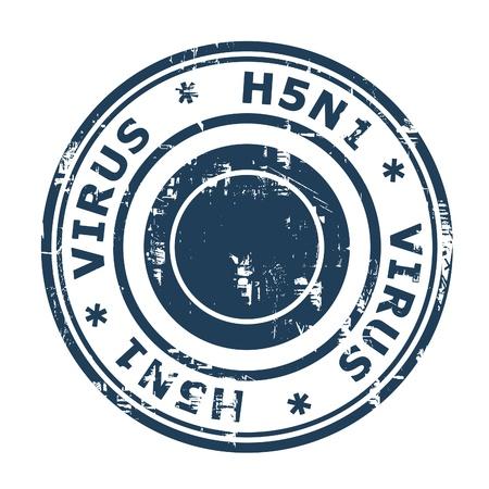 viral strain: H5N1 Virus Stamp, Avian Bird Influenza isolated on a white background.