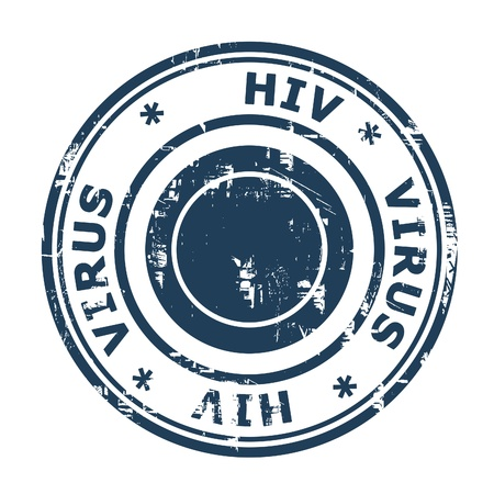 viral strain: HIV virus Stamp isolated on a white background. Stock Photo