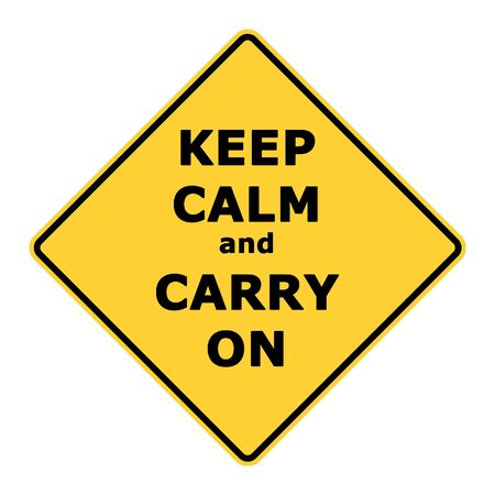 Keep calm and carry on sign isolated on white background. photo