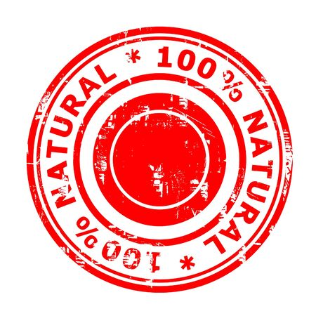 100% natural concept stamp isolated on a white background. photo