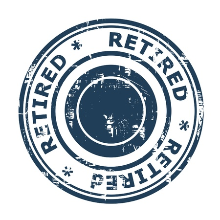 Retired concept stamp concept stamp isolated on a white background.