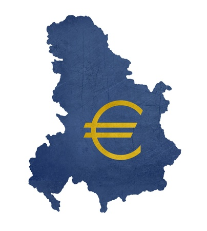 serbia and montenegro: European currency symbol on map of Serbia and Montenegro isolated on white background.