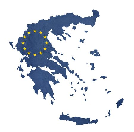 greece map: European flag map of Greece isolated on white background. Stock Photo