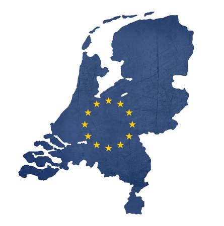 European flag map of Netherlands isolated on white background. photo