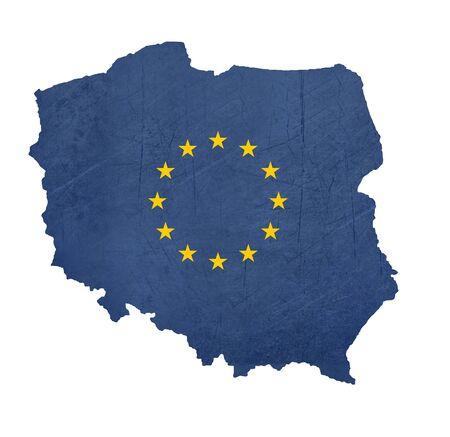 polish flag: European flag map of Poland isolated on white background.