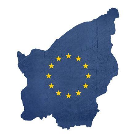 san marino: European flag map of San Marino isolated on white background.