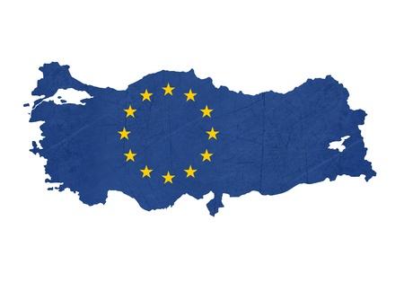 European flag map of Turkey isolated on white background. photo