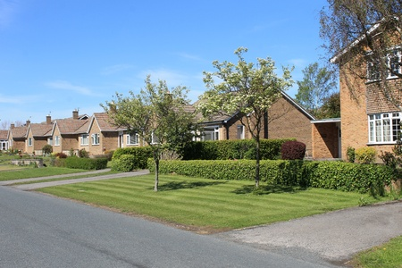 row of houses: Row of bungalow houses, Scalby Village, England.