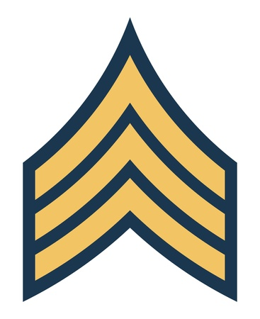 sergeant: American army sergeant insignia rank badge isolated on white background.