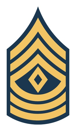 sergeant: American First Sergeant insignia rank badge isolated on white background.