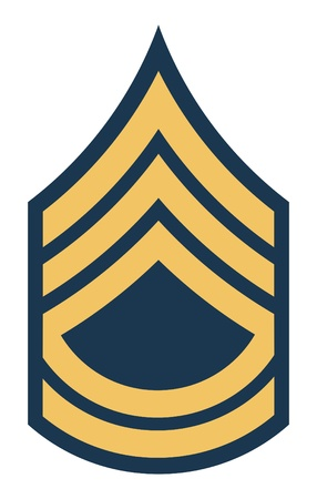 American Sergeant First Class insignia rank badge isolated on white background. photo