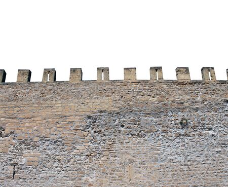 battlements: Exterior of medieval castle showing battlements. isolated on white background