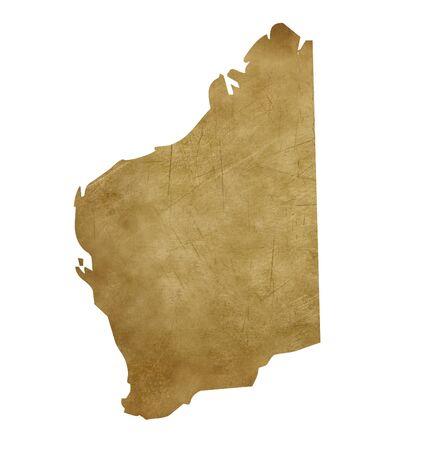 western australia: Grunge Western Australia map in treasure style isolated on white background.
