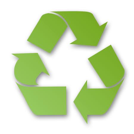 reciclable: Muestra de reciclaje verde con el fondo blanco.