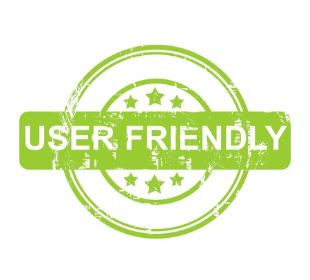 user friendly: Green user friendly stamp with stars isolated on a white background. Stock Photo