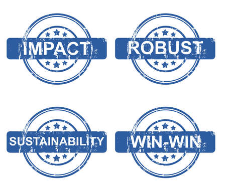 robust: Set of four different business stamps with stars isolated on a white background.