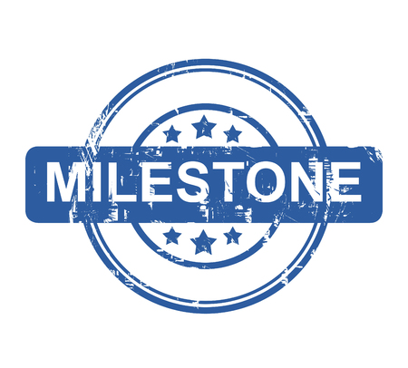 milestone: Business milestone stamp with stars isolated on a white background. Stock Photo